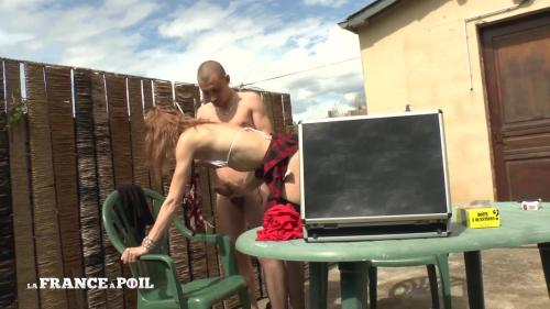 Sheina - Skinny french arab slut with tiny tits in fishnet stockings gets screwed up and cum covered after a good rimming in the garden [HD 720P]