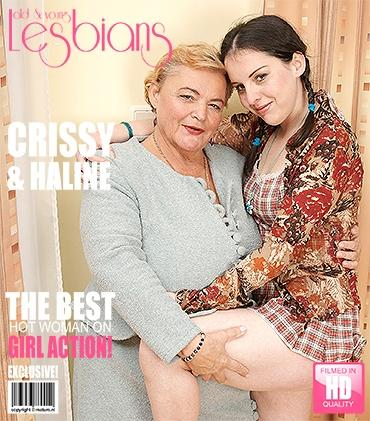 Mature Crissy (19), Haline (60) - Old and young lesbians having great fun with eachother